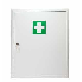 First-aid cabinet with filling DIN 13169